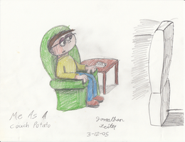 Early Drawings - Me As a Couch Potato by FilmmakerJ
