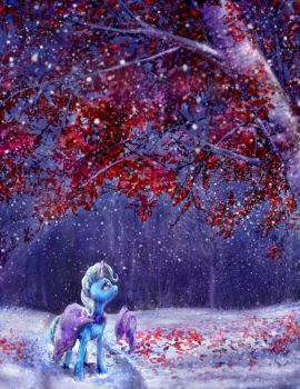Trixie stops by the woods on a snowy evening. by viwrastupr
