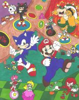 Mario and Sonic Shuffle Party by OutThereOtaku