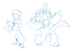 ::-Dancing Kaiju Mascots Sketch-:: by Starimo