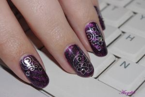 Nail Art : WD silver flowers by Angelik23