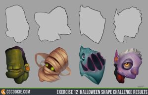 Exercise 12: Halloween Shape Challenge Results by CGCookie