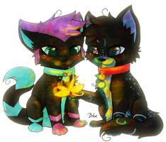 Gemine and Kezzie Chibi by Bluefirewings