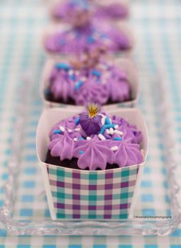 Mini Chocolate Lavender Cakes by theresahelmer