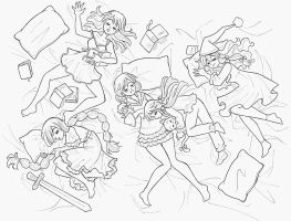 Sleeping fairies - lineart by Arwen-chan