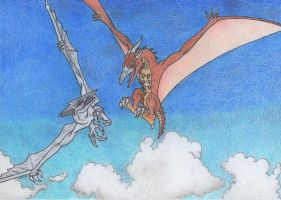 Rodan vs Gyaos by Dark-Hyena