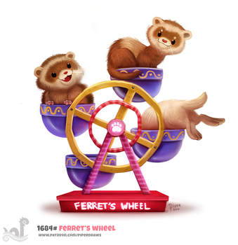Daily Painting 1684# Ferret's Wheel by Cryptid-Creations