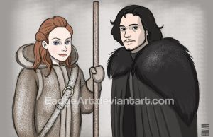 Game of Thrones: Jon Snow and Ygritte by EadgeArt