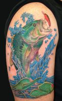 largemouth bass tattoo by asussman