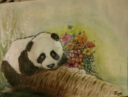 Panda and topical flowers by jessicafrias