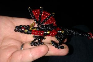 Red and Black 3D Seed Bead Dragon by Industrial-Pop