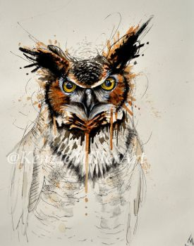 Mixed Media owl by McKMills
