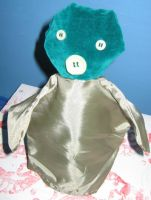 Earless Green Piggy by puppetry