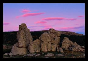 Pink clouds grey rocks by Discomax