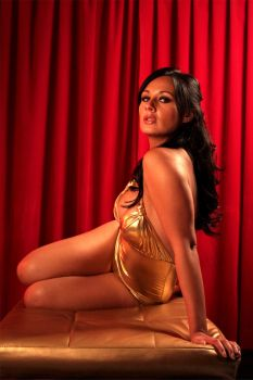 Golden girl in the red room by MrAlarcon