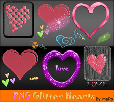 PNG glitter hearts by miralkhan