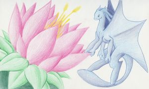 Frost dragon and a Lotus by CelestialTentails