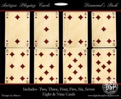 Antique Playing Cards Diamonds by duggar
