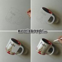 3D drawing Paris Coffee Mug Step by Step by marcellobarenghi