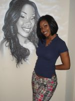 Portrait on wall of herself by KidStyles