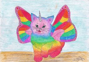rainbow unicorn butterfly kitty commssion finished by ShelandryStudio