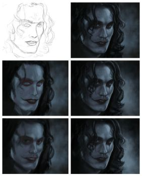 Sketch and coloring. The Crow. by AtanvarneArt