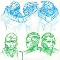 ME - Garrus and Thane head studies by pyrogina