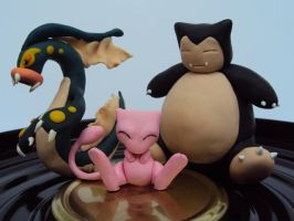 Eelektross, Snorlax and Mew by chow-marco