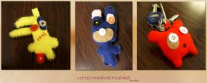 3 little monster plushies by zvpo