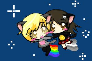 Friends- Nyan Cat Tac Nayn by Kaidankuri