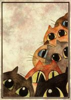 Lots of Cats - greeting card by Dietlinde