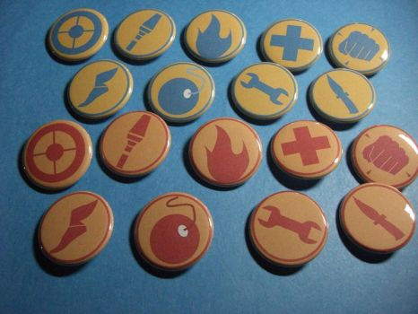 Team Fortress 2 Emblems Pins by vickinator
