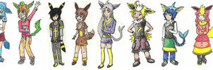 Eevee Evolution Gijinkas by FizzyBubbles