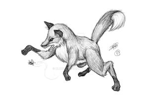 Playful Red Fox Doodle by BloodCri