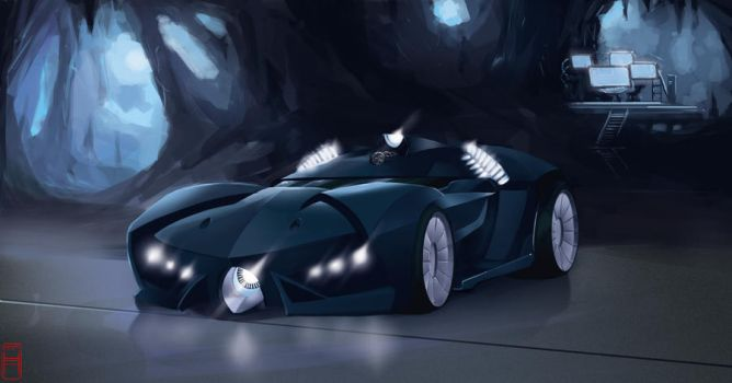 Batmobile  -in the batcave- by MrHarp
