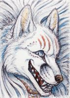 ACEO - Fox Magic V (kitsune) by synnabar