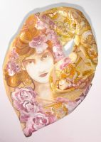 Silk scarf - Mucha Rose 2 - on SALE :) by MinkuLul
