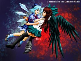 COM : Utsuho and Cirno by whiteguardian