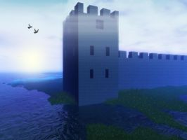 Stock Background - Blue Castle by Stock-by-Kai