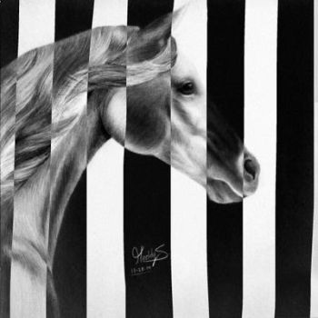 camouflaged horse  by wondering--artist13