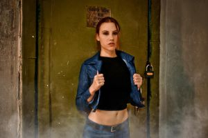 Lara Croft jeans cosplay - elevator machine room by TanyaCroft