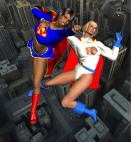 Supergirl Earth D vs. Power girl 5 by cattle6