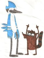 Mordecai and Rigby by TheHappySpaceman01