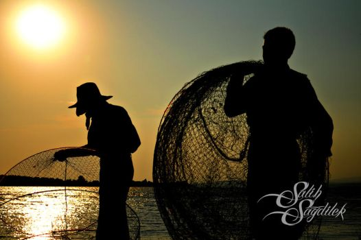 fishermans silhouette by salihsagdilek
