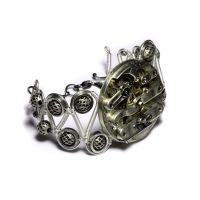 Steampunk Jewelry Silver Cuff by CatherinetteRings