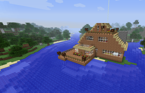 Minecraft River House by Unossofrus