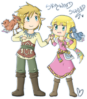Skyward sword LinkXZelda chibi by SparxPunx