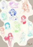 Disney sketches II by ThEsIlKe