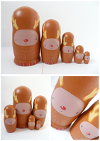 Rudolf the Red Nosed Reindeer Russian Dolls by ponychops