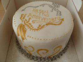 Dragon Anniversary Cake by Rebeckington